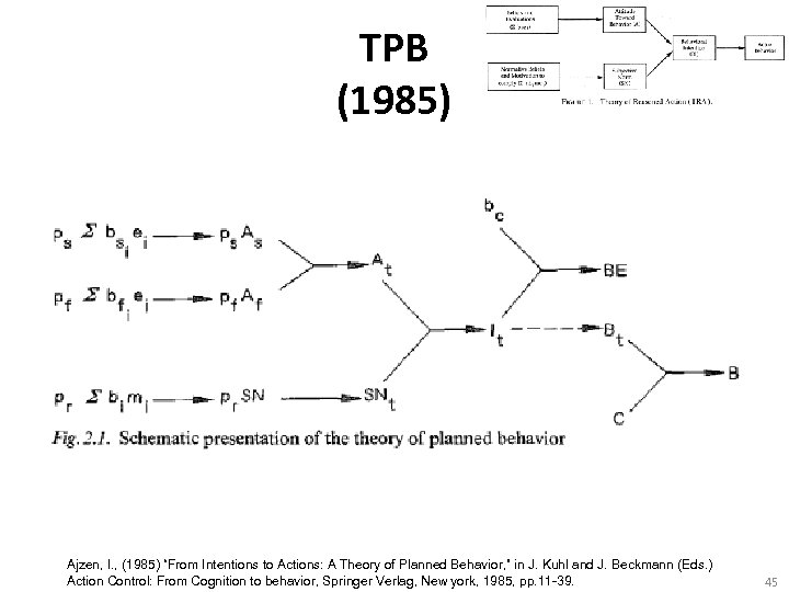 "TPB (1985) Ajzen, I. , (1985) ""From Intentions to Actions: A Theory of Planned"