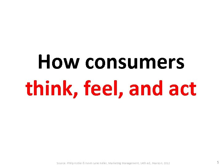 How consumers think, feel, and act Source: Philip Kotler & Kevin Lane Keller, Marketing