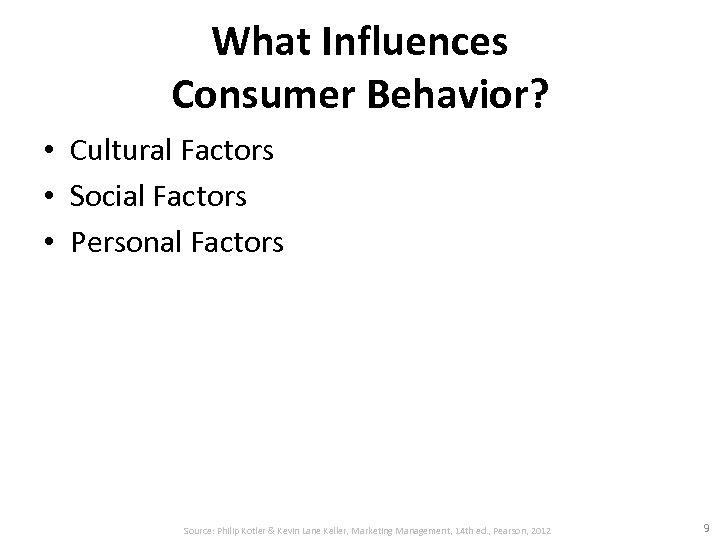What Influences Consumer Behavior? • Cultural Factors • Social Factors • Personal Factors Source: