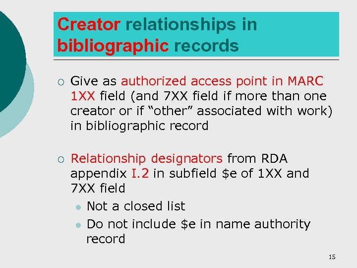 Creator relationships in bibliographic records ¡ Give as authorized access point in MARC 1