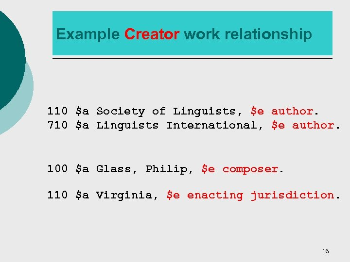 Example Creator work relationship 110 $a Society of Linguists, $e author. 710 $a Linguists