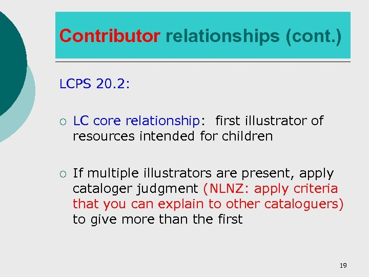 Contributor relationships (cont. ) LCPS 20. 2: ¡ LC core relationship: first illustrator of