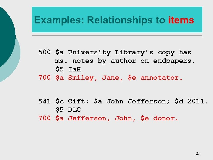 Examples: Relationships to items 500 $a University Library's copy has ms. notes by author