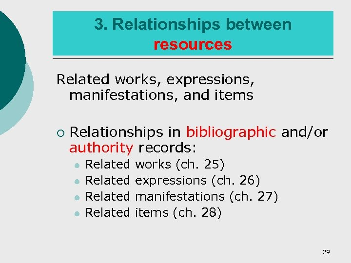 3. Relationships between resources Related works, expressions, manifestations, and items ¡ Relationships in bibliographic