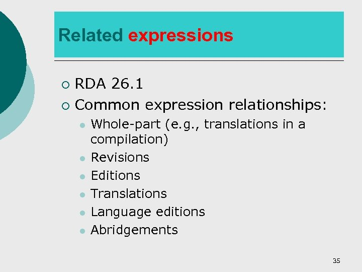 Related expressions RDA 26. 1 ¡ Common expression relationships: ¡ l l l Whole-part