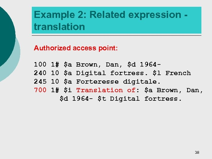 Example 2: Related expression translation Authorized access point: 100 245 700 1# $a Brown,