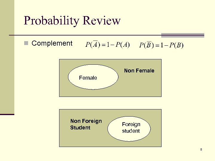 Probability Review n Complement Non Female Non Foreign Student Foreign student 5
