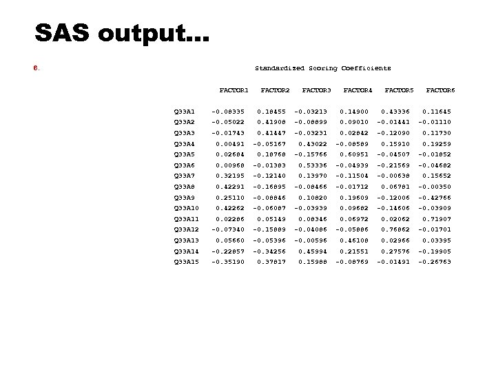 SAS output… 6. Standardized Scoring Coefficients FACTOR 1 FACTOR 2 FACTOR 3 FACTOR 4