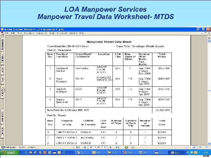 LOA Manpower Services Manpower Travel Data Worksheet- MTDS 04/14/08