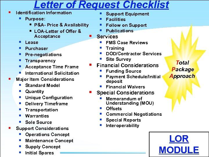 § § § Letter of Request Checklist Identification Information § Purpose: § P&A- Price
