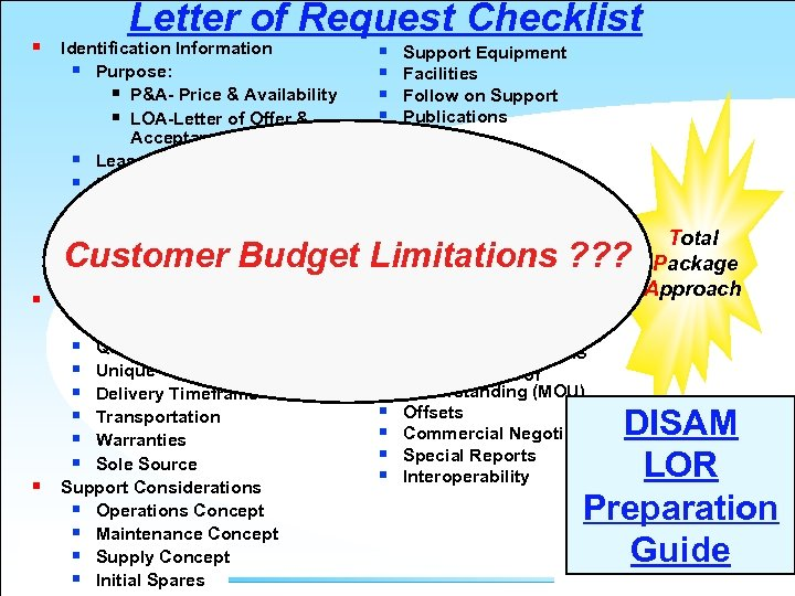 § Letter of Request Checklist Identification Information § Purpose: § P&A- Price & Availability