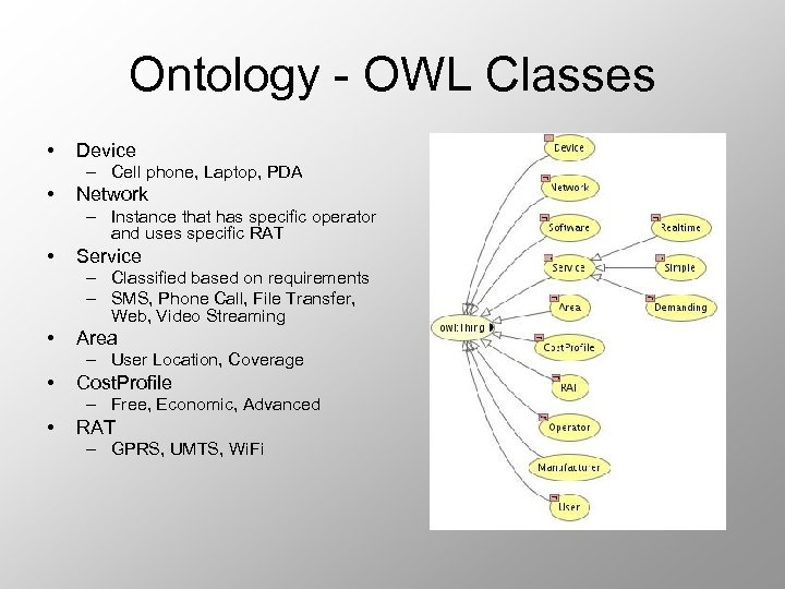 Ontology - OWL Classes • Device – Cell phone, Laptop, PDA • Network –