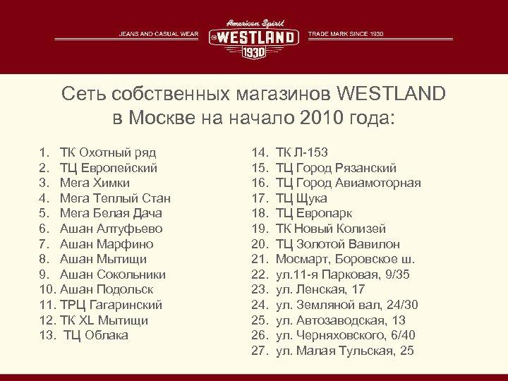Сеть собственных магазинов WESTLAND в Москве на начало 2010 года: 1. ТК Охотный ряд