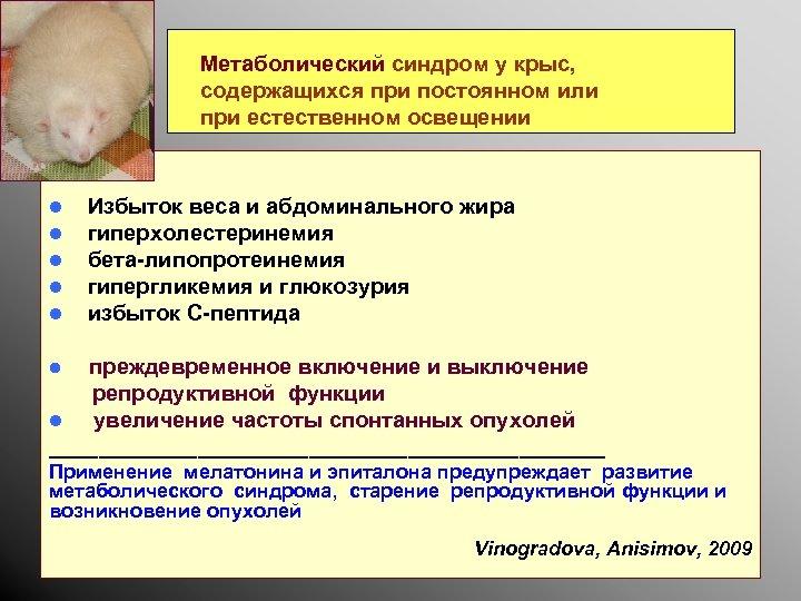 Метаболический синдром у крыс, содержащихся при постоянном или при естественном освещении l l l