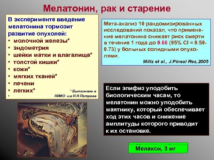Мелатонин, рак и старение В эксперименте введение мелатонина тормозит развитие опухолей: • молочной железы*