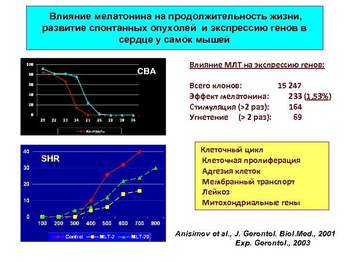 Влияние мелатонина на продолжительность жизни, развитие спонтанных опухолей и экспрессию генов в сердце у