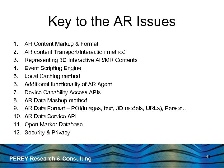 Key to the AR Issues 1. 2. 3. 4. 5. 6. 7. 8. 9.