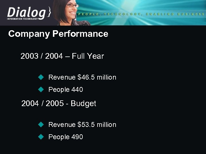 Company Performance 2003 / 2004 – Full Year u Revenue $46. 5 million u