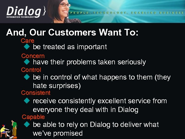And, Our Customers Want To: Care u be treated as important Concern u have