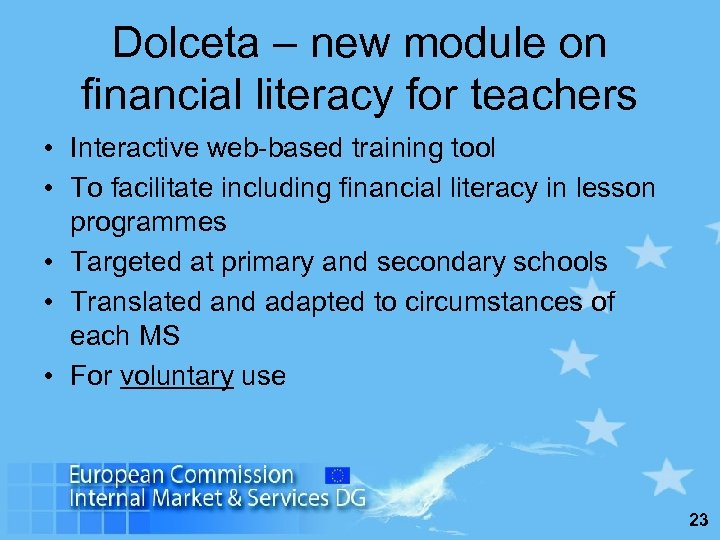 Dolceta – new module on financial literacy for teachers • Interactive web-based training tool