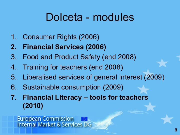 Dolceta - modules 1. 2. 3. 4. 5. 6. 7. Consumer Rights (2006) Financial