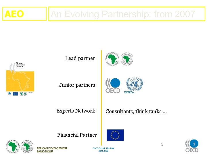 AEO An Evolving Partnership: from 2007 Lead partner Junior partners UNECA Experts Network Consultants,