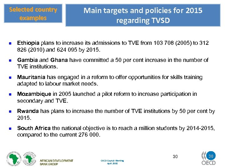 Selected country examples n n n Main targets and policies for 2015 regarding TVSD