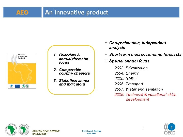 AEO An innovative product • Comprehensive, independent analysis 1. Overview & annual thematic focus