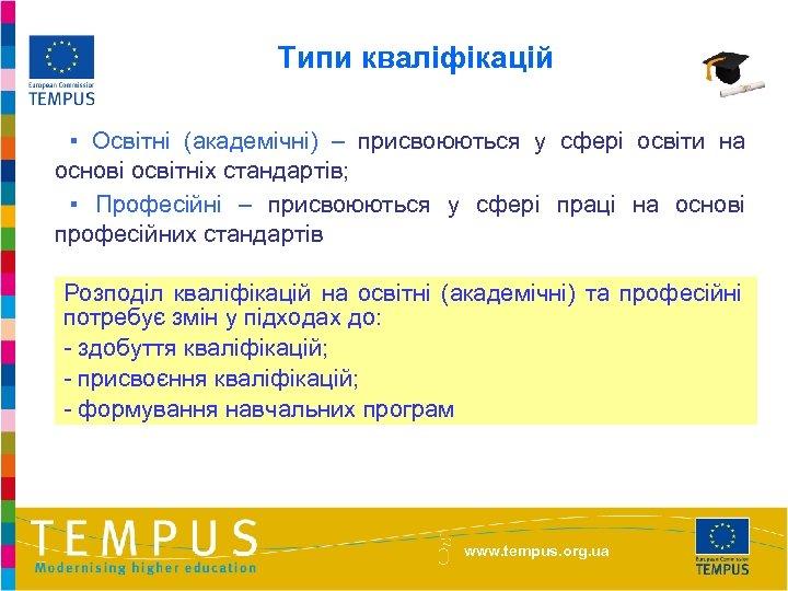 Типи кваліфікацій ▪ Освітні (академічні) – присвоюються у сфері освіти на основі освітніх стандартів;
