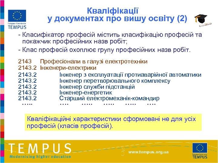 Кваліфікації у документах про вишу освіту (2) - Класифікатор професій містить класифікацію професій та