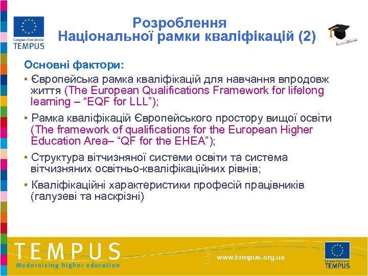 Розроблення Національної рамки кваліфікацій (2) Основні фактори: ▪ Європейська рамка кваліфікацій для навчання впродовж