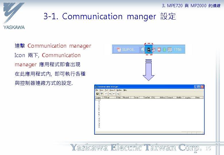 3. MPE 720 與 MP 2000 的連線 3 -1. Communication manger 設定 連擊 Communication