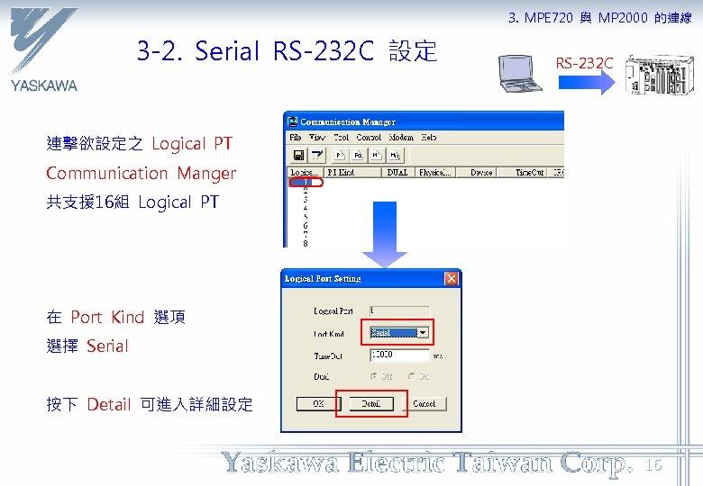 3. MPE 720 與 MP 2000 的連線 3 -2. Serial RS-232 C 設定 RS-232