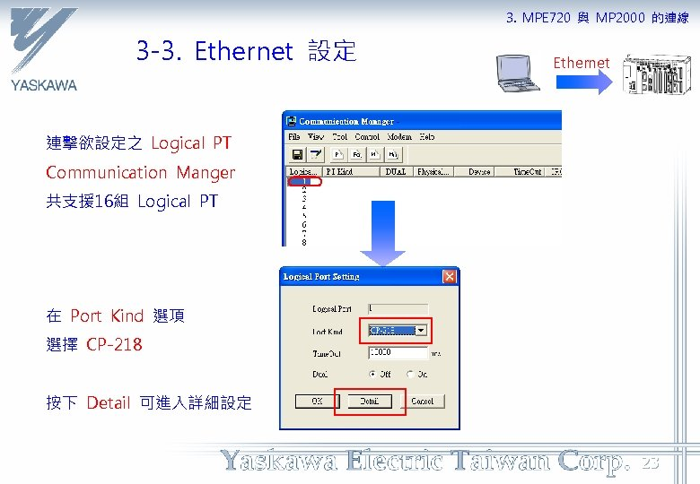 3. MPE 720 與 MP 2000 的連線 3 -3. Ethernet 設定 Ethernet 連擊欲設定之 Logical
