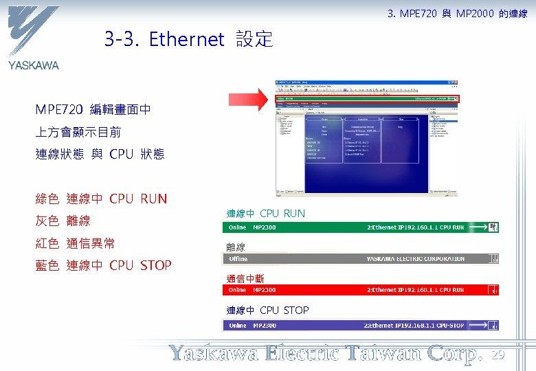 3. MPE 720 與 MP 2000 的連線 3 -3. Ethernet 設定 MPE 720 編輯畫面中