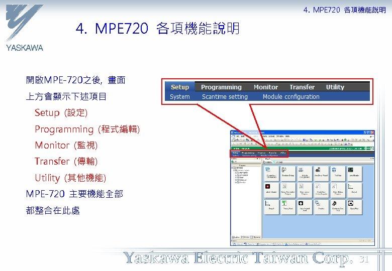 4. MPE 720 各項機能說明 開啟MPE-720之後, 畫面 上方會顯示下述項目 Setup (設定) Programming (程式編輯) Monitor (監視) Transfer