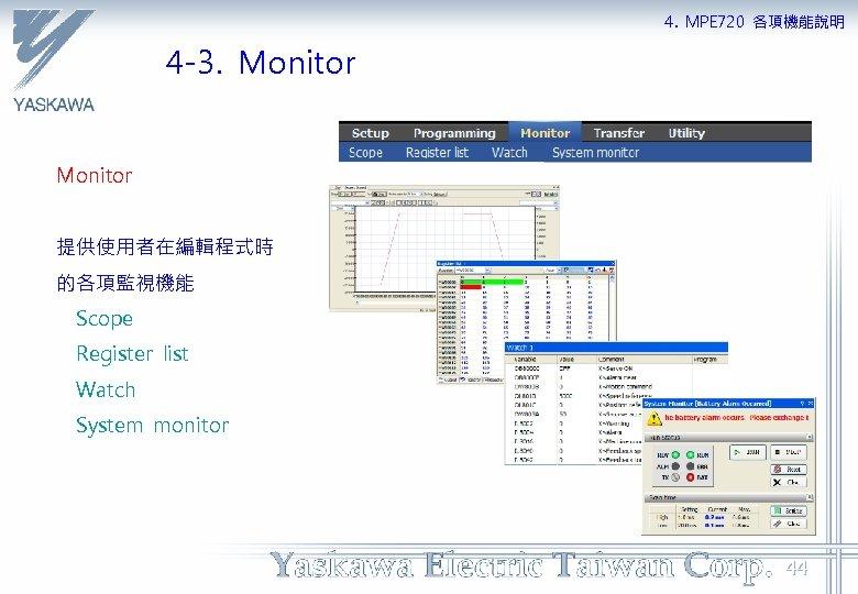 4. MPE 720 各項機能說明 4 -3. Monitor 提供使用者在編輯程式時 的各項監視機能 Scope Register list Watch System