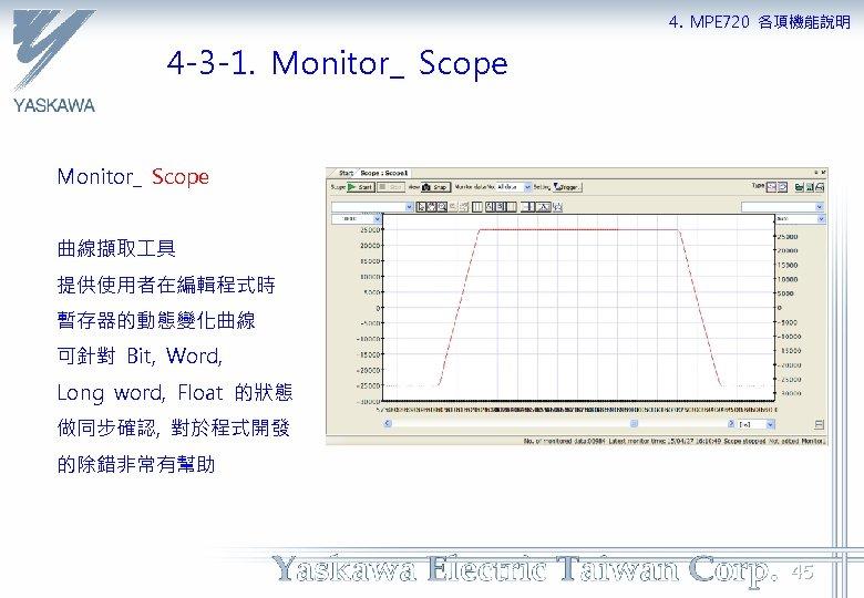 4. MPE 720 各項機能說明 4 -3 -1. Monitor_ Scope 曲線擷取 具 提供使用者在編輯程式時 暫存器的動態變化曲線 可針對