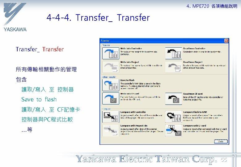 4. MPE 720 各項機能說明 4 -4 -4. Transfer_ Transfer 所有傳輸相關動作的管理 包含 讀取/寫入 至 控制器