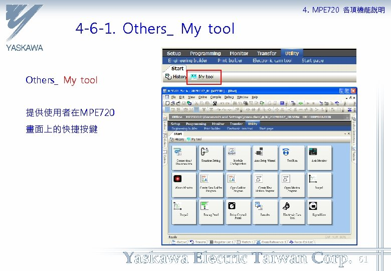 4. MPE 720 各項機能說明 4 -6 -1. Others_ My tool 提供使用者在MPE 720 畫面上的快捷按鍵 61