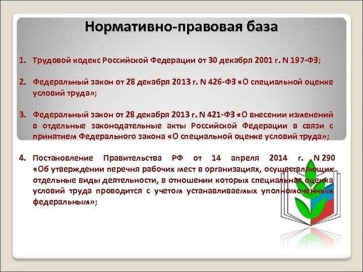 Нормативно-правовая база 1. Трудовой кодекс Российской Федерации от 30 декабря 2001 г. N 197