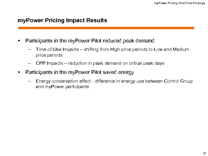 my. Power Pricing Pilot Final Findings my. Power Pricing Impact Results § Participants in