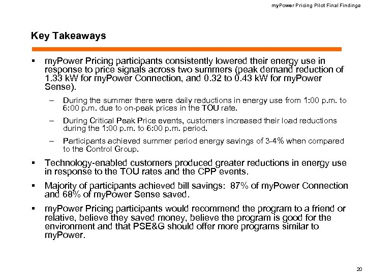 my. Power Pricing Pilot Final Findings Key Takeaways § my. Power Pricing participants consistently