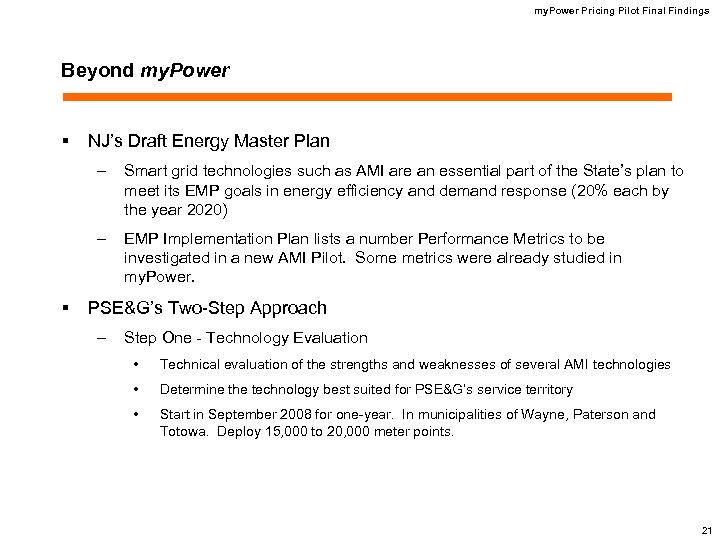 my. Power Pricing Pilot Final Findings Beyond my. Power § NJ's Draft Energy Master