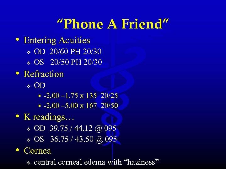 """Phone A Friend"" • Entering Acuities v v OD 20/60 PH 20/30 OS 20/50"