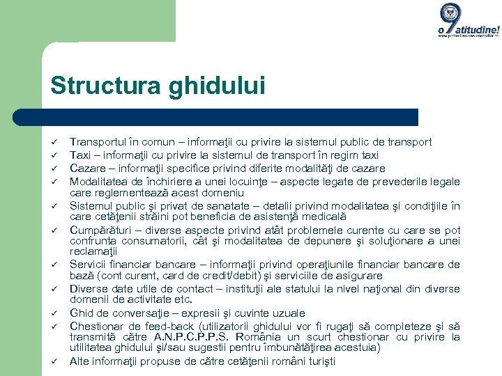 Structura ghidului Transportul în comun – informaţii cu privire la sistemul public de transport
