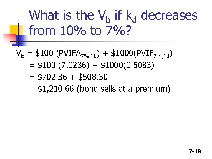 What is the Vb if kd decreases from 10% to 7%? Vb = $100