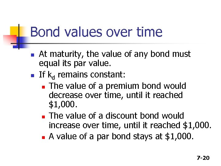 Bond values over time n n At maturity, the value of any bond must