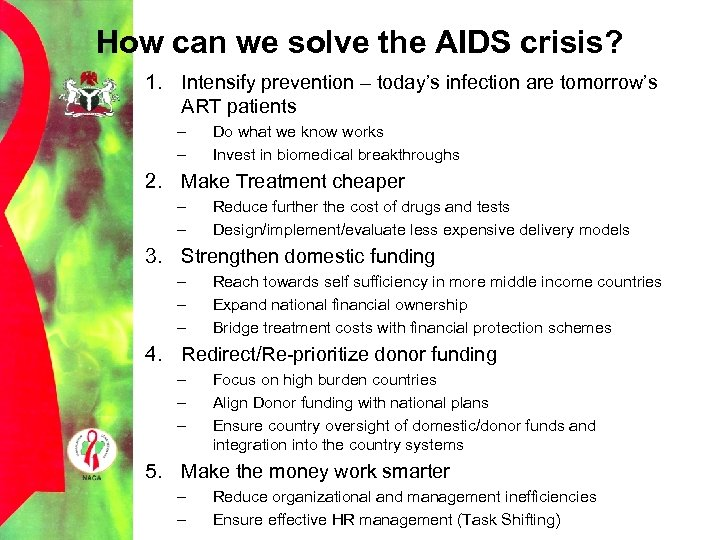 How can we solve the AIDS crisis? 1. Intensify prevention – today's infection are