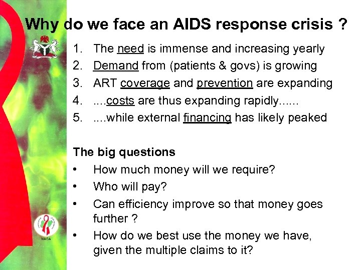 Why do we face an AIDS response crisis ? 1. 2. 3. 4. 5.